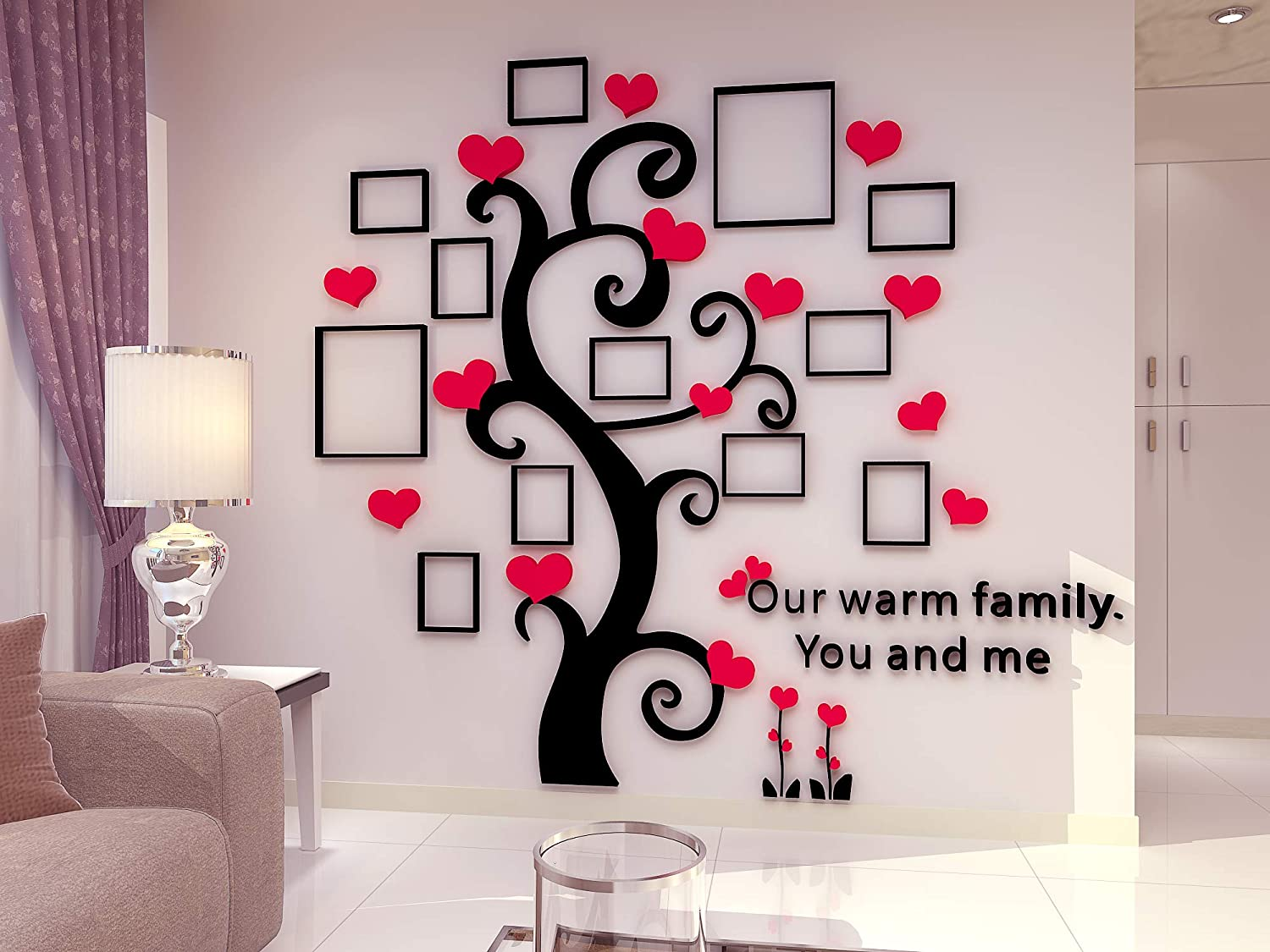 Unitendo 3D Wall Stickers Photo Frames FamilyTree Wall Decal Easy to Install &Apply DIY Photo Gallery Frame Decor Sticker Home Art Decor, Red Heart and Thick Trunk, L.