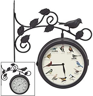 Bird Clocks Dual Sided Outdoor Singing And Thermometer