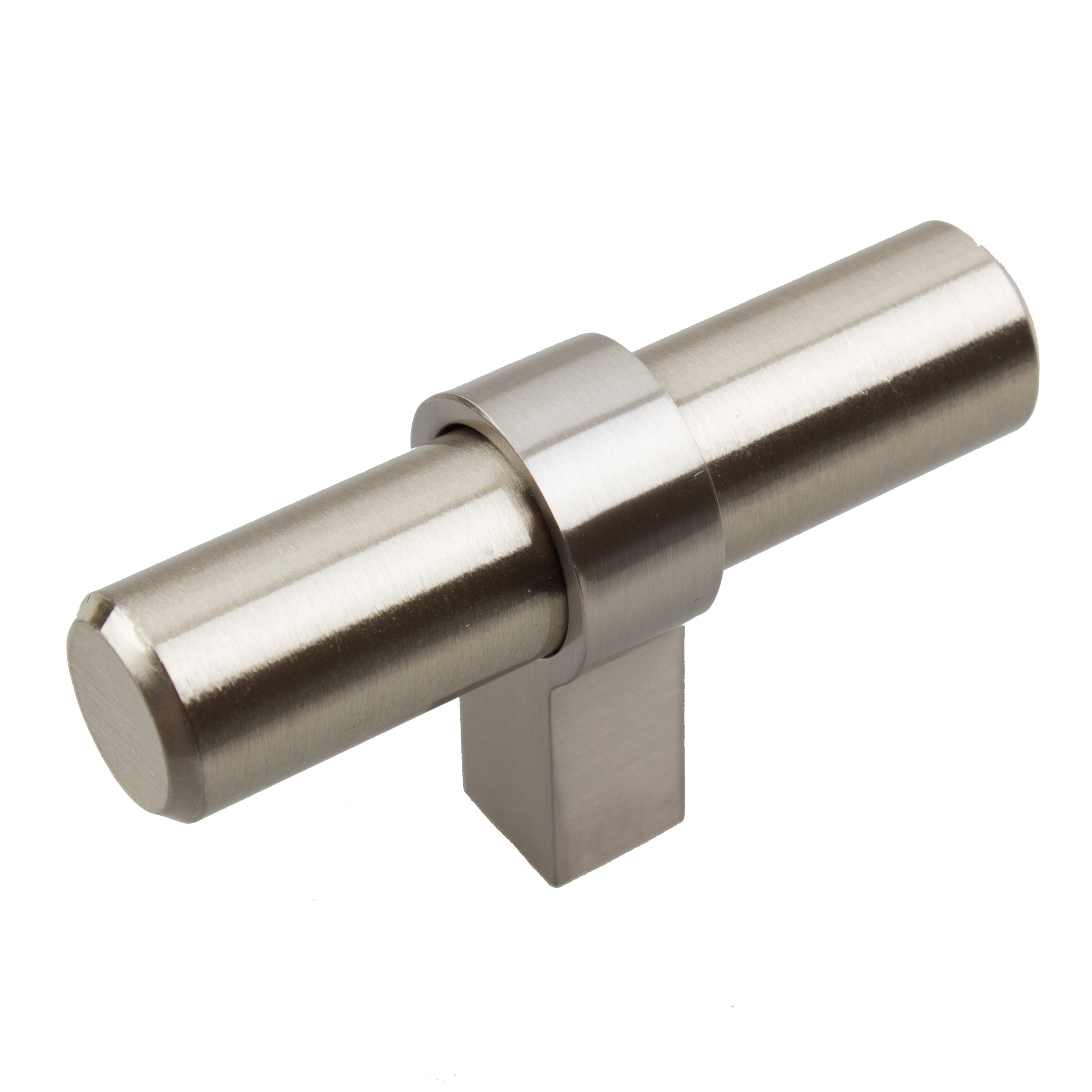 GlideRite Hardware 4002-T-SS-50 Solid Euro T-Bar Handle Knobs, 50 Pack, 2.25'', Stainless Steel
