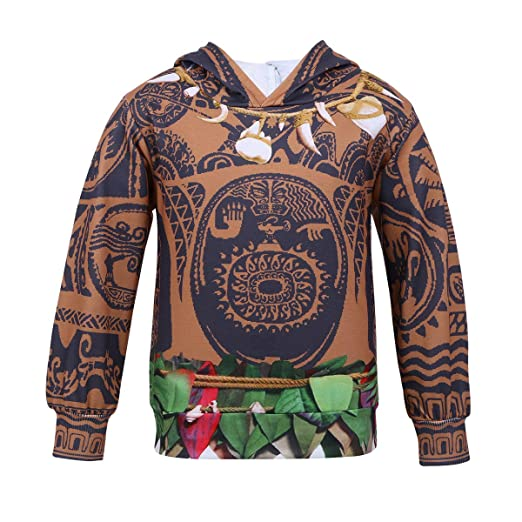 acsuss kids boys long sleeves halloween cartoon maui costumes loose fit hoodies sweaters coat multicolor 2