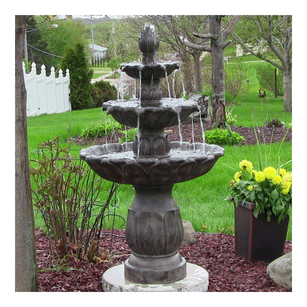 Sunnydaze Classic Tulip Three-Tiered Outdoor Garden Water Fountain, Dark Brown, 46 Inch Tall