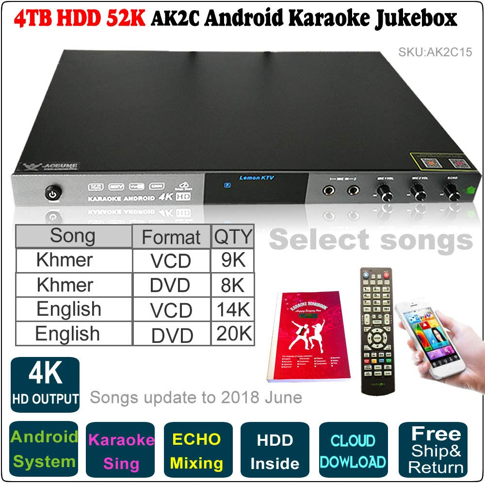 4TB 52K English VCD,DVD+Khmer VCD,DVD Songs Android Karaoke Player, Jukebox, Microphone Port, ECHO Mixing,Songs Update to 2018 June,Remote Controller,Songbook Included, AK2C