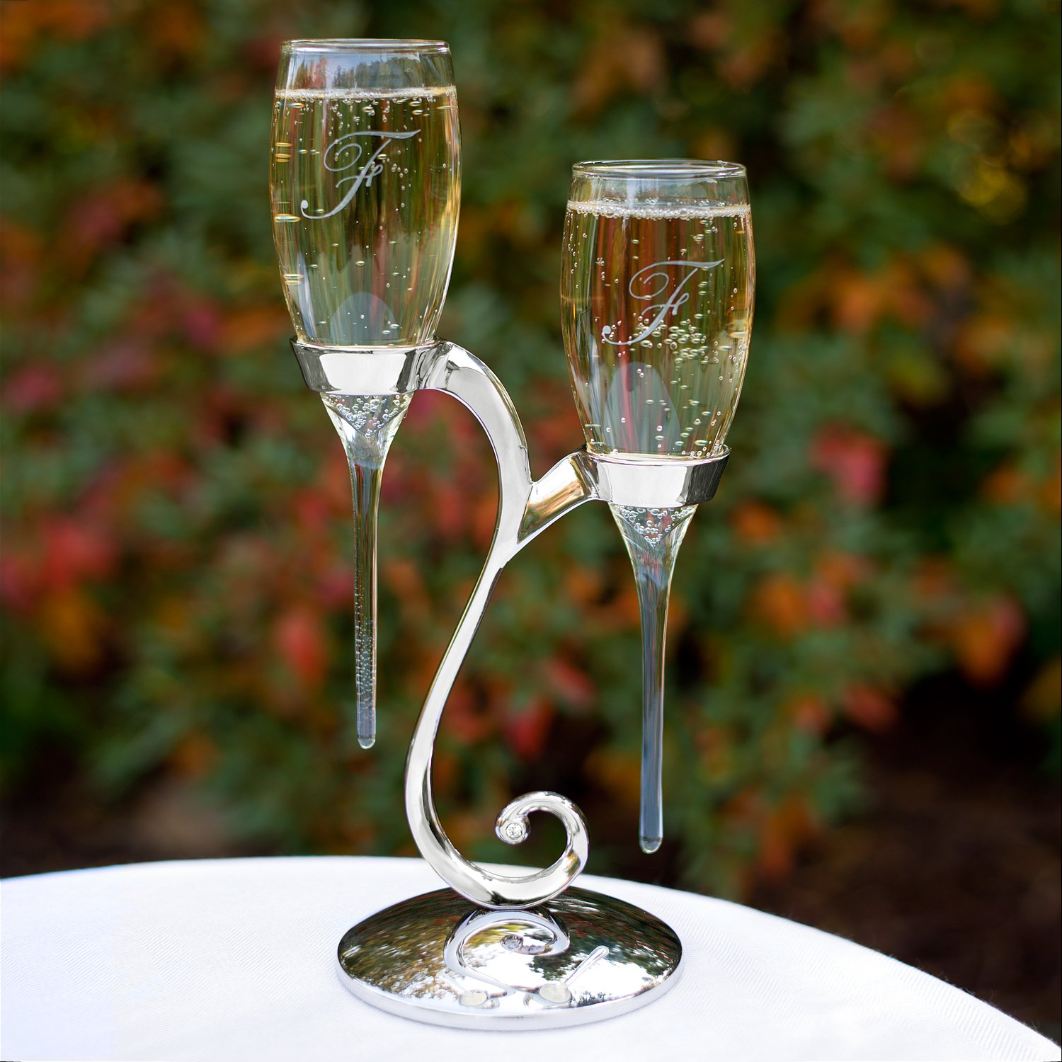 Wedding Wedding Toasting Flutes amazon com hortense b hewitt raindrop toasting flutes with swirl stand wedding accessories home kitchen