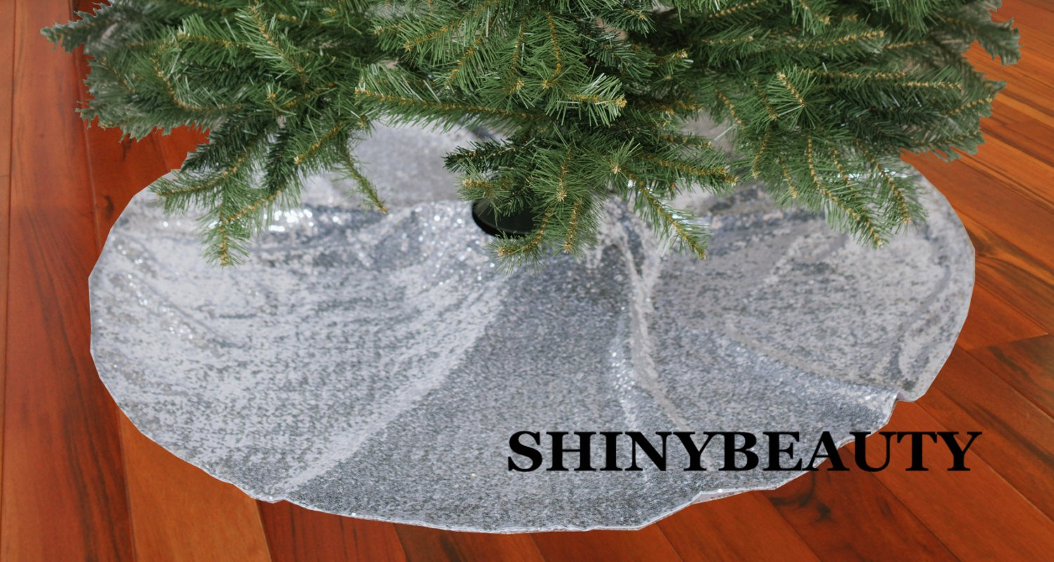 ShinyBeauty 21Inch-Silver-Sequin Christmas Tree Skirt, 21'' diameter SEQUIN Tree Skirt for Christmas Decoration by ShinyBeauty