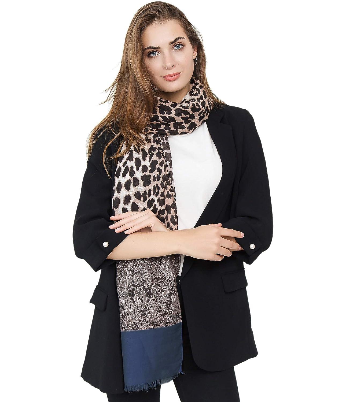 Superora Bufanda Mujer Invierno Chal Manta Mantón Fular Pañuelo Algodón Leopardo Encaje 180 * 90cm
