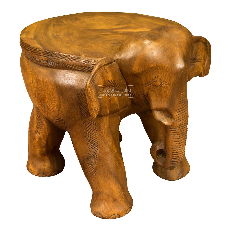 Solid suar wood elephant stool table - flat topped - 30cm x 33cm x ...