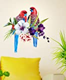 Decals Design Tropical Birds on Floral Branch' Wall Decal (PVC Vinyl, 60 cm x 45 cm x 60 cm)