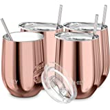 Wine Tumbler Vacuum Insulated Stemless - THILY 4 Pack Triple-Insulated Stainless Steel Wine Glass with Lid and Straw, Keep Co