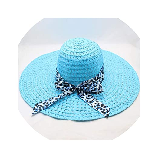 02beab2b Image Unavailable. Image not available for. Color: Women Straw Hat Big Wide  Brim Leopard Print Female Cute ...