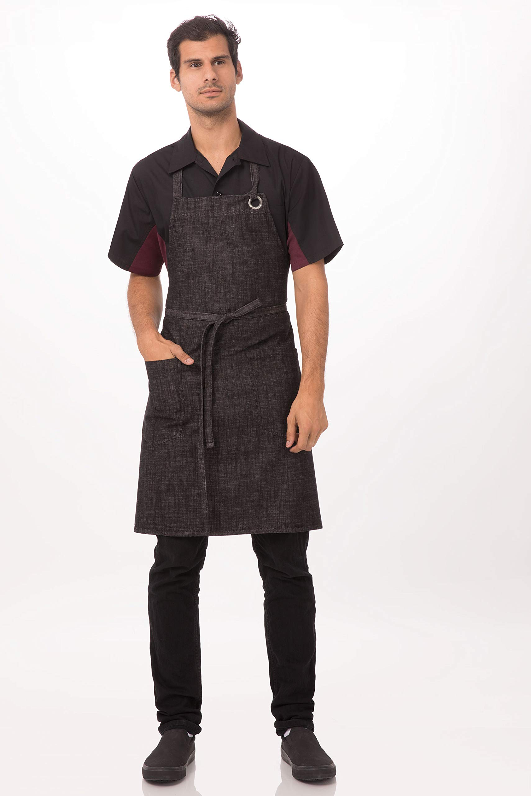 Chef Works Unisex Corvallis Bib Apron, Black/Burgundy, One Size by Chef Works