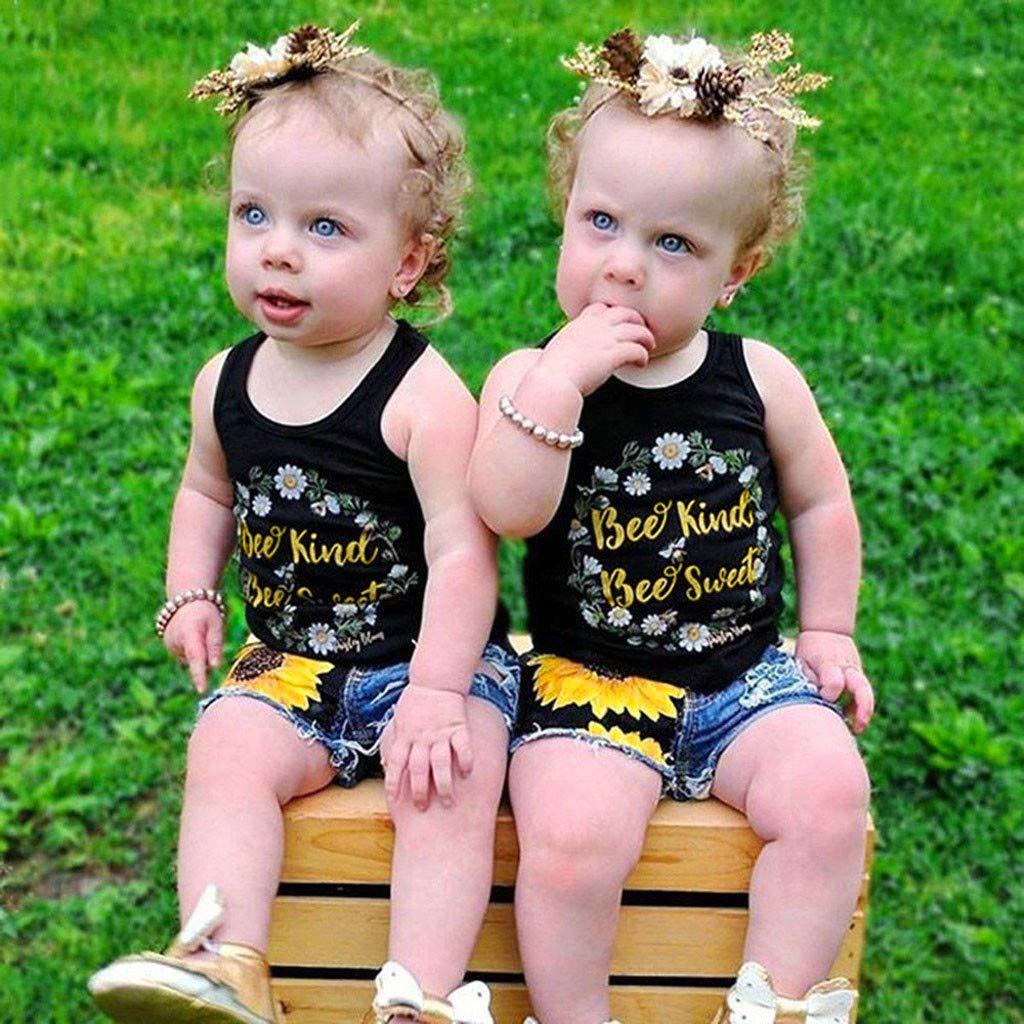 Zegeey Baby M/äDchen Kleinkind Bekleidungssets Anz/üGe Drucken Weste Tops T-Shirt Tops Floral Denim Shorts Outfit Set Geburtstag Geschenk