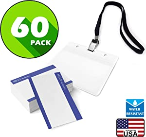 Cross Waterproof Plastic Name Tags ID Card Holder with Black Lanyards for Kids Name Labels, School, Camp, Field Trip, Business Event, Conference Badges Holder, Name Tag with Lanyard (60 Sets)