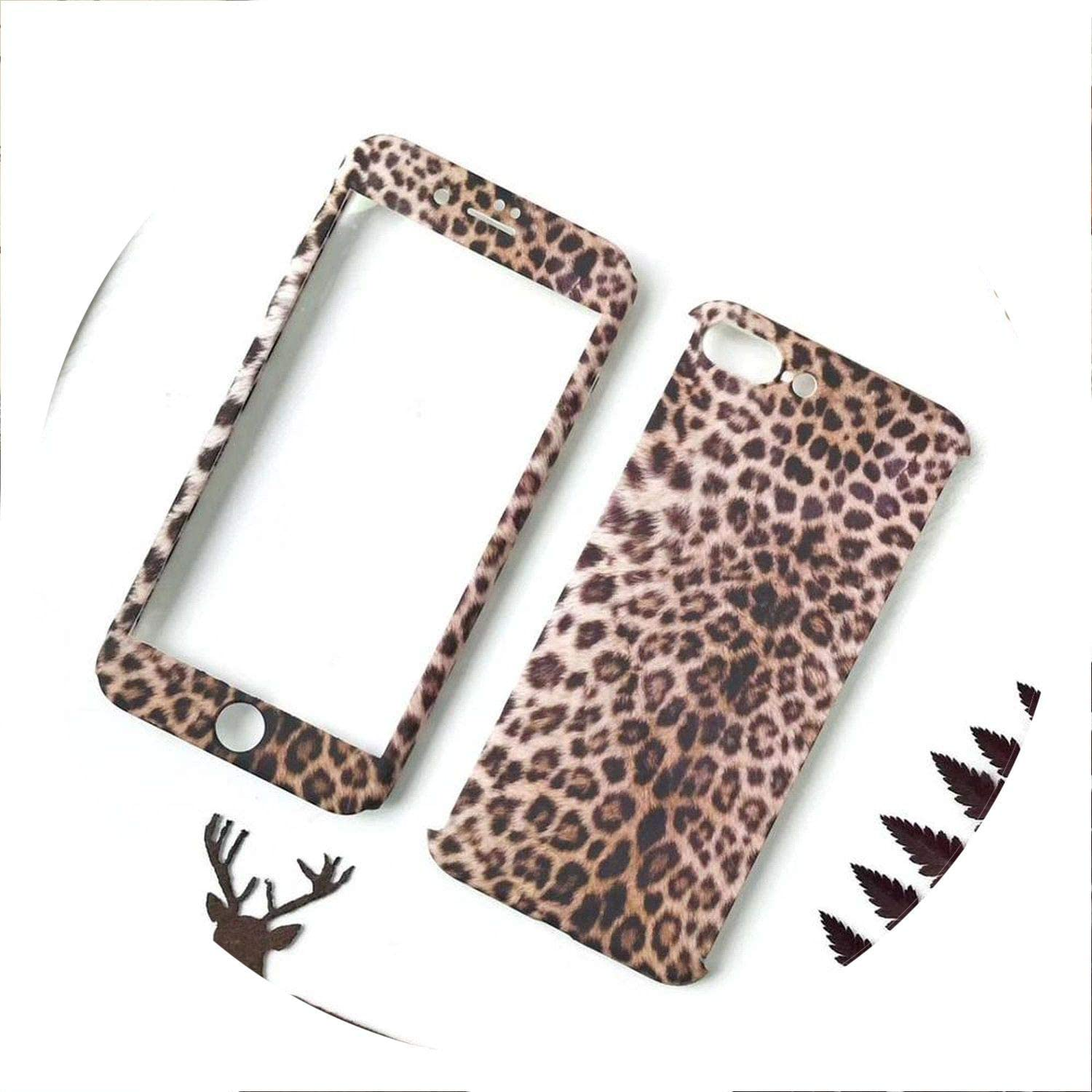 360 Full Body Leopard Phone Cases for iPhone 7 6 6S 8 Plus 5 5S SE Hard PC Back Cover Case for iPhone X XS MAX XR Tempered Glass,style02,for iPhone X