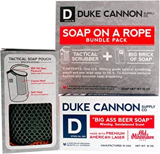 product image for Duke Cannon Supply Co. - Mens Soap On A Rope Tactical Scrubber Soap Bundle (2 Piece Set) Includes Tactical Body Scrubber and Big Ass Beer Soap made with Old Milwaukee Premium American Lager