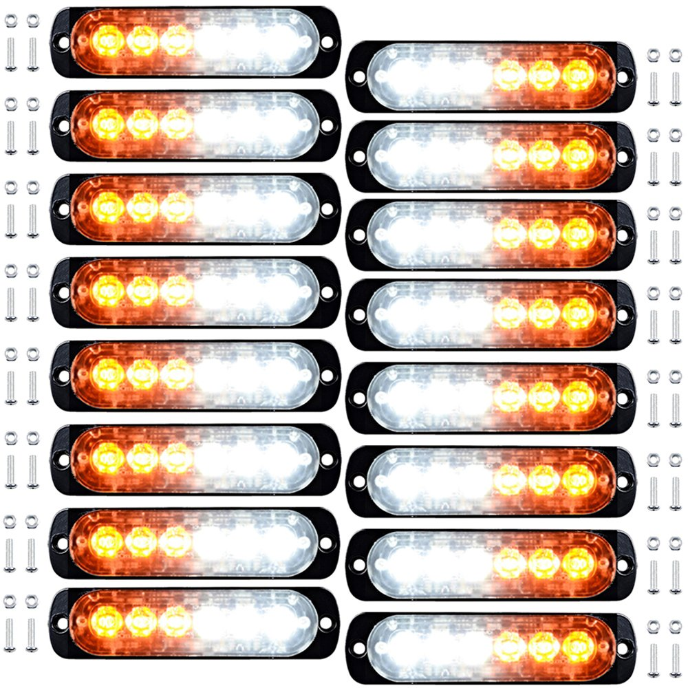 16pcs 6-LED White Amber Surface Mount Emergency Warning Beacon Flash Caution Construction Strobe Light Bar 16 Flashing for Car SUV Pickup Truck Trailer Van RV