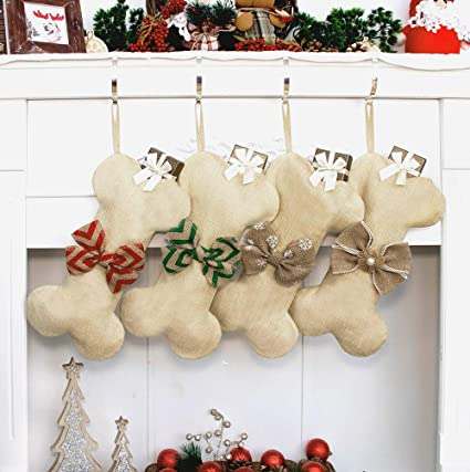 4, Red and Green Tanlee 4 Pieces Pet Paw Christmas Stockings 18 Inch Pet Dog Christmas Stocking Plaid Christmas Stockings Fireplace Hanging Stockings for Christmas Hanging Decorations