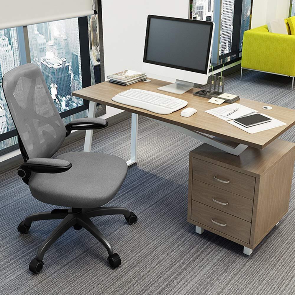 ZZHF Svängbar stol, ergonomisk datorstol hem arbetsrum stol personalstol svängbar stol nät kontor stol lyftstolar, ryggstöd stol (färg: Svart) Svart