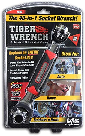 6-Point and Any Size Standard or Metric Torx Multi-Function Socket Wrench Tiger Wrench Works with Spline Bolts Square Damaged Bolts 48 Tools In One with 360 Degree Rotating Head 12-Point