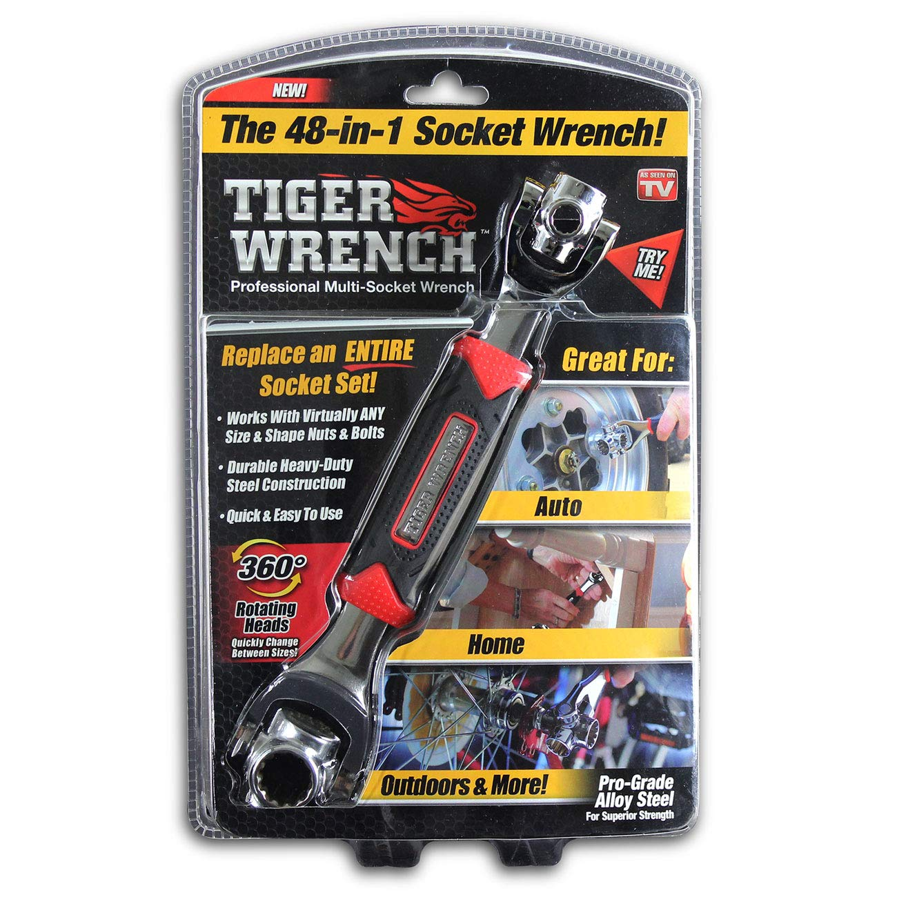 Universal Wrench 48 Tools In One Socket,Works with Spline Bolts,6-Point,12-Point,Torx,Square Damaged Bolts and Any Size Standard or Metric