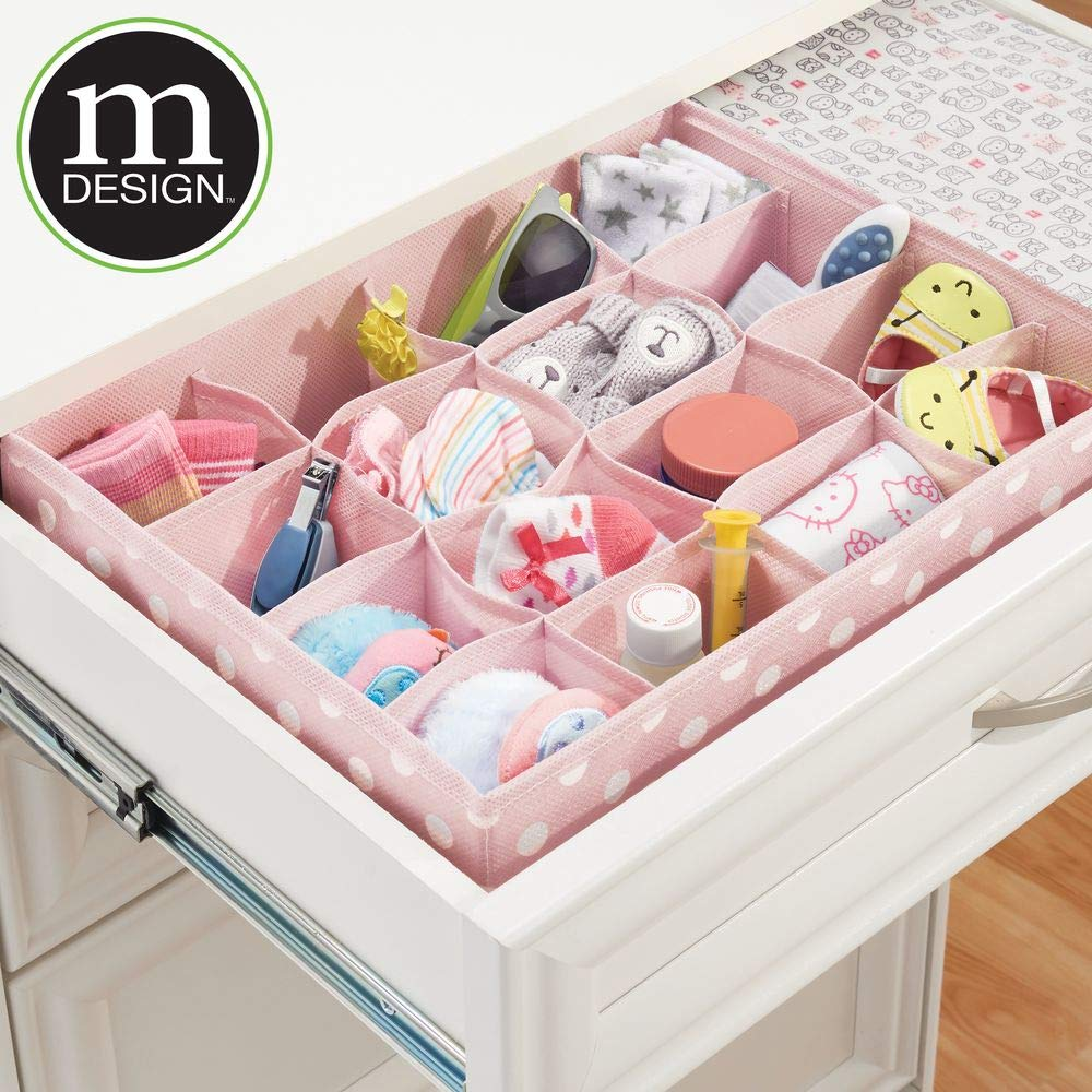 Pink//White mDesign Soft Fabric Dresser Drawer and Closet Storage Organizer for Child//Kids Room and Nursery Polka Dot Print Large 16 Section Organizer 2 Pack