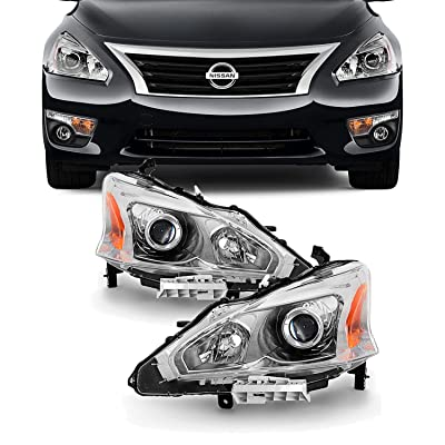 For 13-15 Altima 4 Doors Sedan Halogen Type Headlights Front Lamps Direct Replacement Left + Right Pair: Automotive