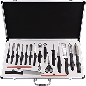 COVVY 18PCS Kitchen Vegetable Food Fruit Cake Carving Knife Set Culinary Carving Peeling Tool Kit /w Portable Carrying Case