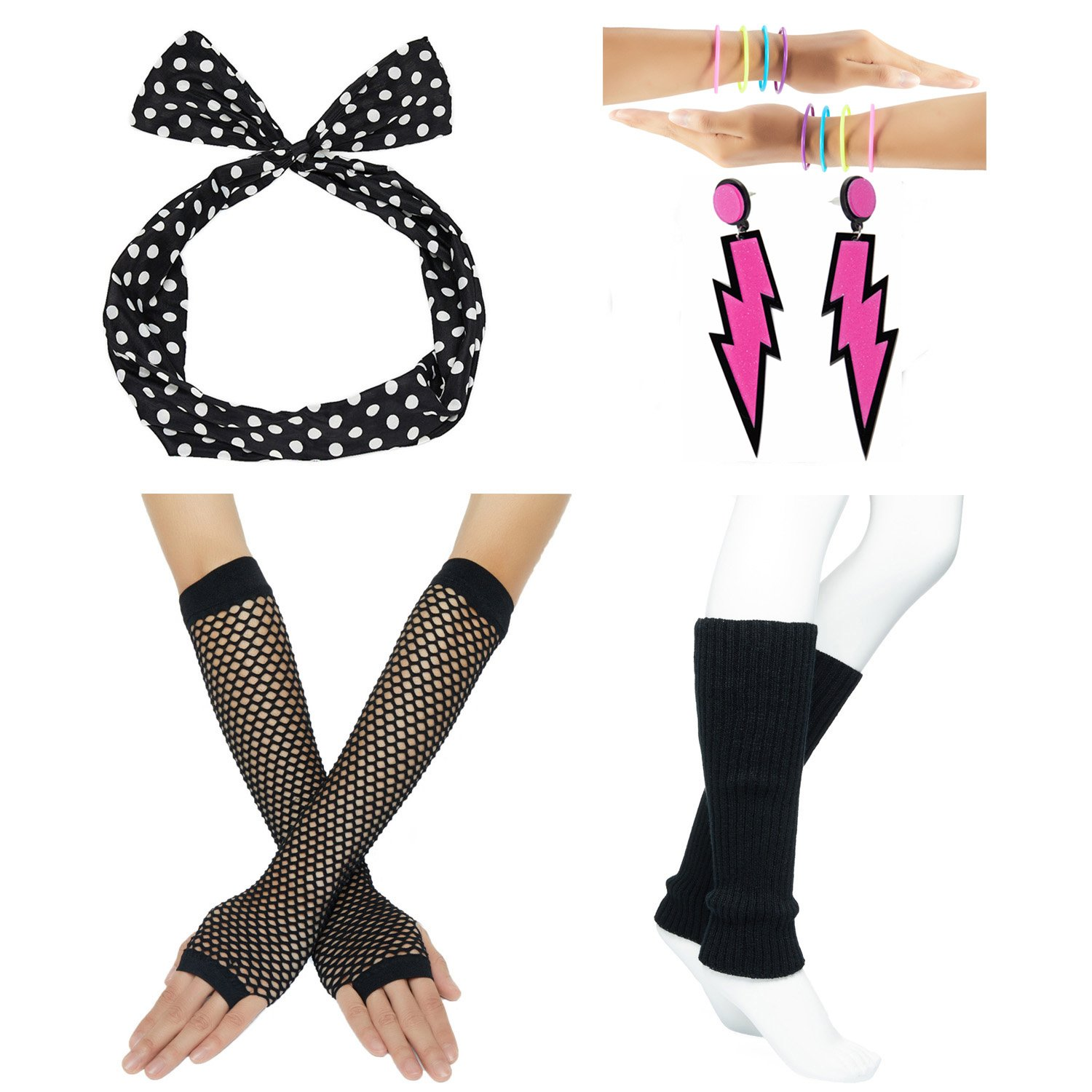 80s Fancy Outfit Costume Accessories Set,Leg Warmers,Fishnet Gloves,Neon Earrings and Bowknot Headband