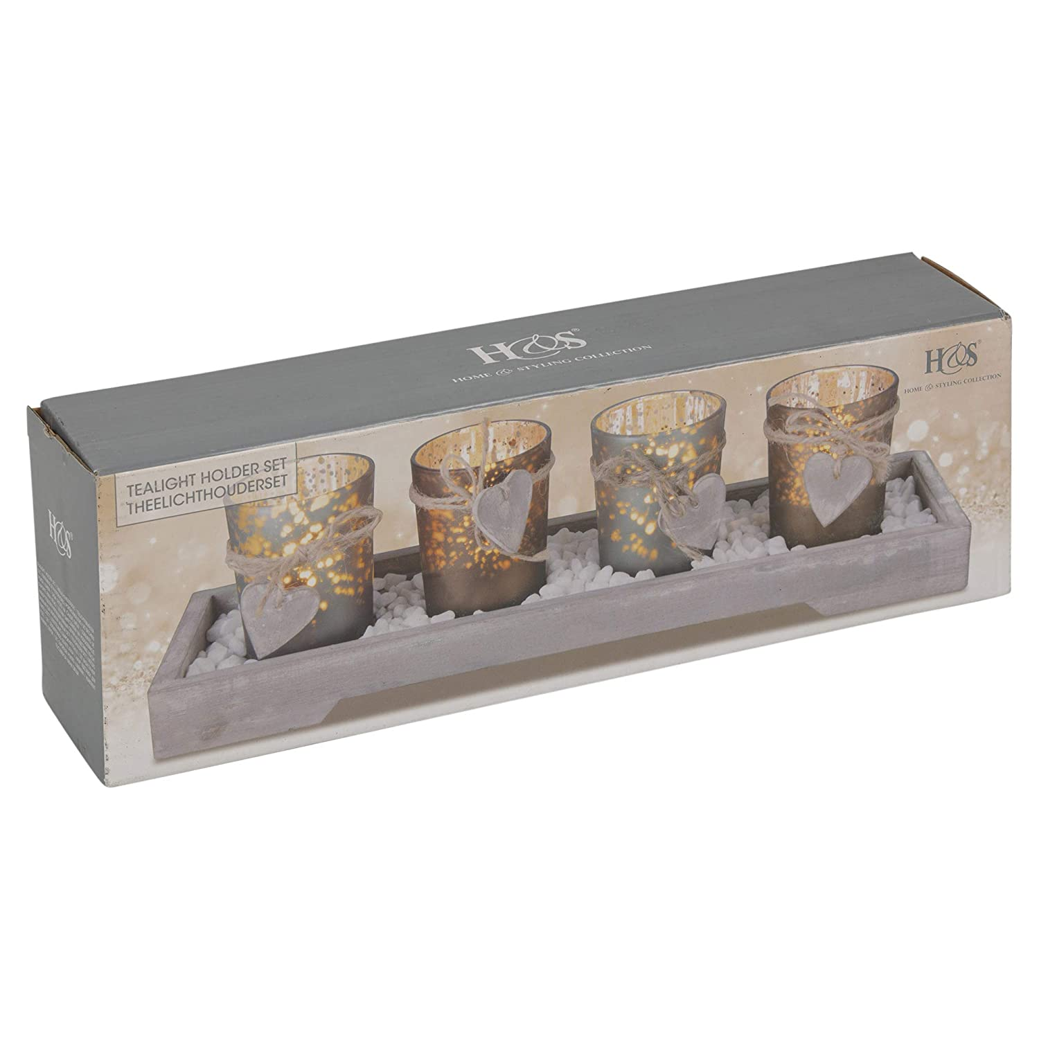 URBNLIVING Home Decor 4 Tea Light Holder With Wooden Tray Brown and Grey
