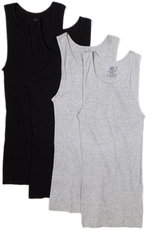 Fruit Of Loom Men's A-Shirt Multipack (Black/Gray, XXXX-Large)