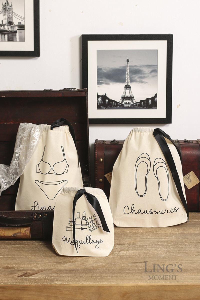 Amazon.com: Lings moment Reusable & Lightweight 100% Cotton Brides Travel Bag Set, 3 Different Size Storage Laundry Bag Set Travel Underwear Bag Shoes Bag ...