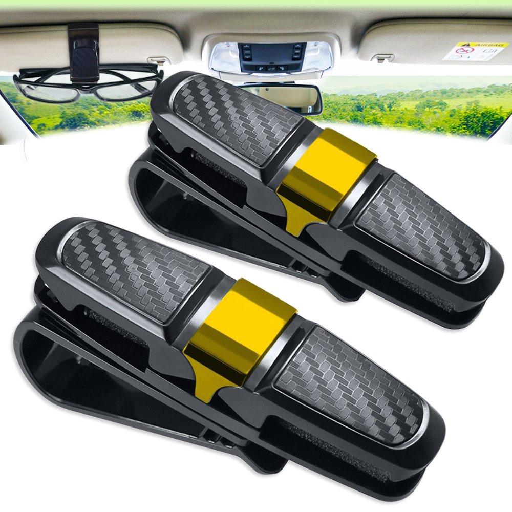 Amison, set da 2 portaocchiali da appendere al parasole dell'auto, con clip, supporto per occhiali con fessura per biglietti set da 2 portaocchiali da appendere al parasole dell' auto