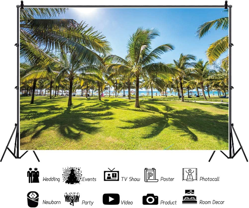 OERJU 10x8ft Tropical Backdrop Resort Scenery Palm Trees Green Lawn Sunshine Photography Background Video Making Wallpaper Baby Girls Boys Adults Birthday Party Decoration People Photo Booth Props