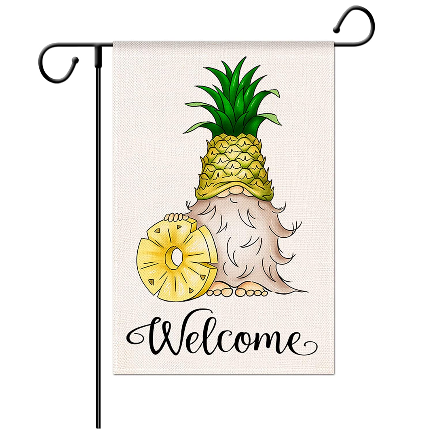 Jartinle Welcome Gnome Garden Flag for Outside, Decorative Welcome Pineapple Small House Flag Double Sided Yard Outdoor Farmhouse Summer Decorations 12.5x18
