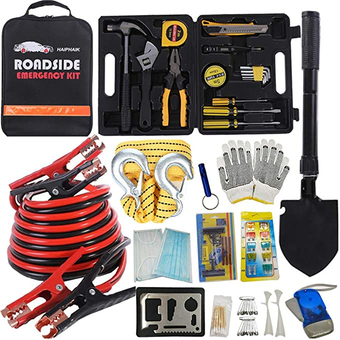 HAIPHAIK Emergency Roadside Toolkit - Multipurpose Emergency Pack Car Premium Road Kit Essentials Jumper Cables Set 11.8 Foot (Upgrade) Emergency Roadside Kit 124 Pieces best gifts for grandpas