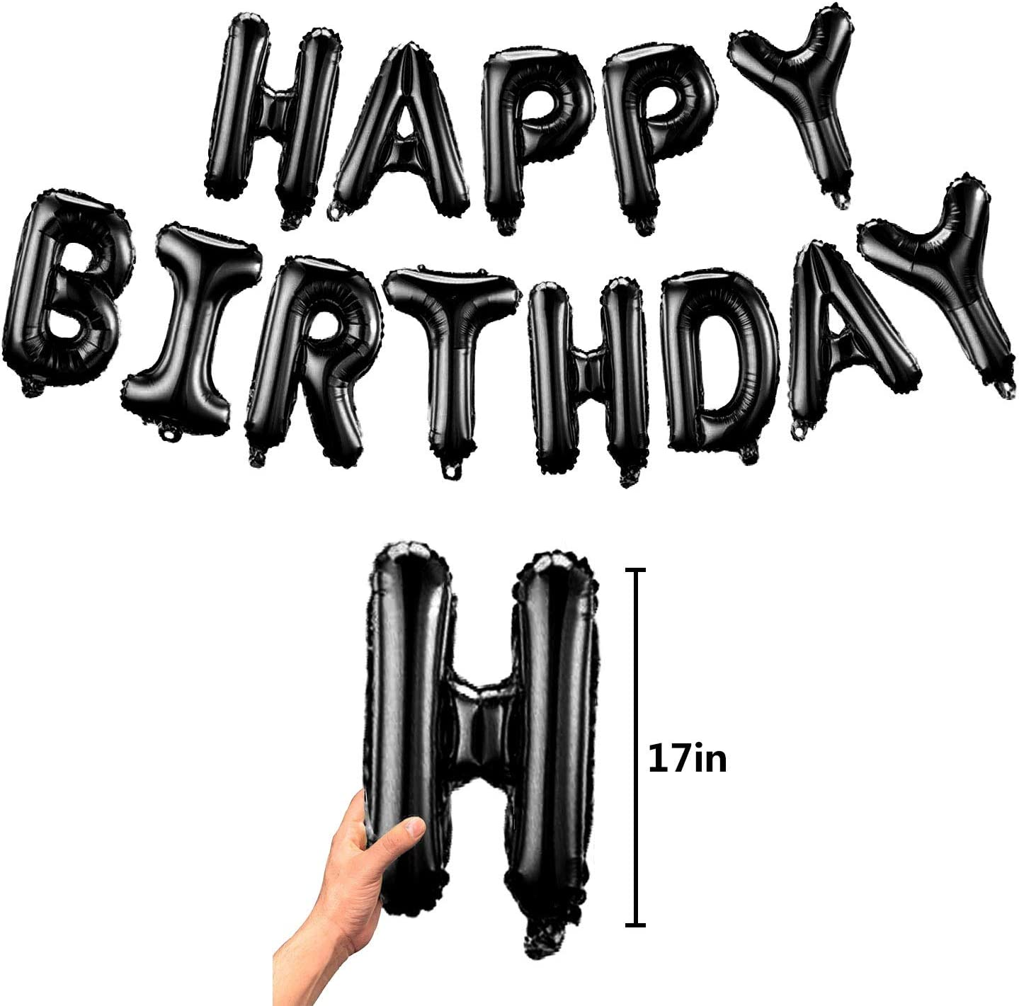 Fecedy Black Hanging Happy Birthday Balloons Banner for party decorations
