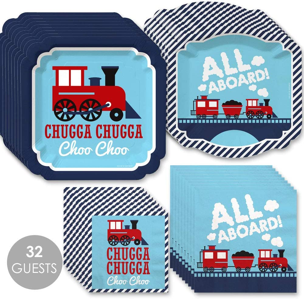 Big Dot of Happiness Railroad Party Crossing Steam Train Birthday Party or Baby Shower Tableware Plates and Napkins Bundle for 32