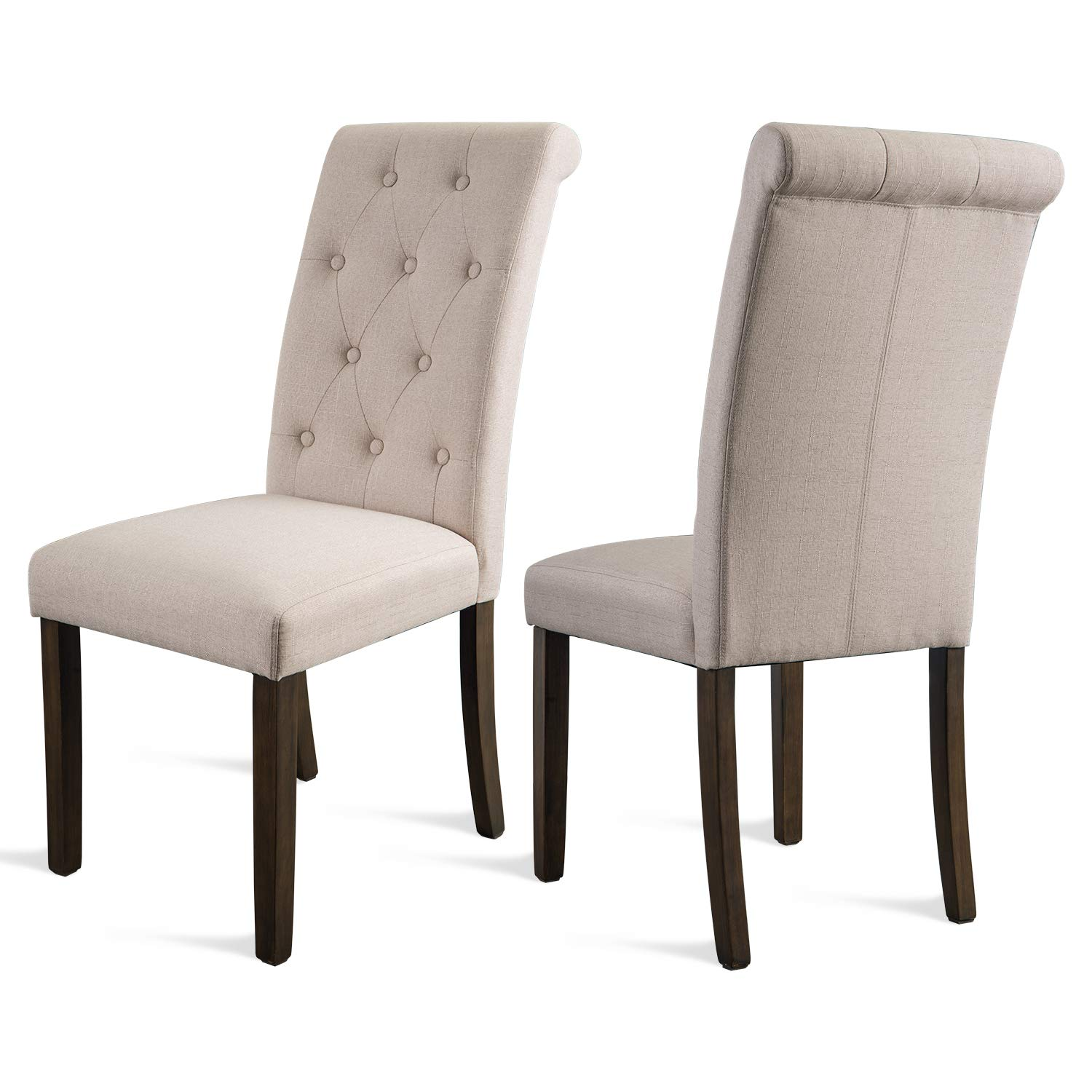FLIEKS Dining Chairs Upholstered Tufted Parsons Chair Modern Accent Chairs with Nailhead Trim and Back Ring, Set of 2, Creamy White