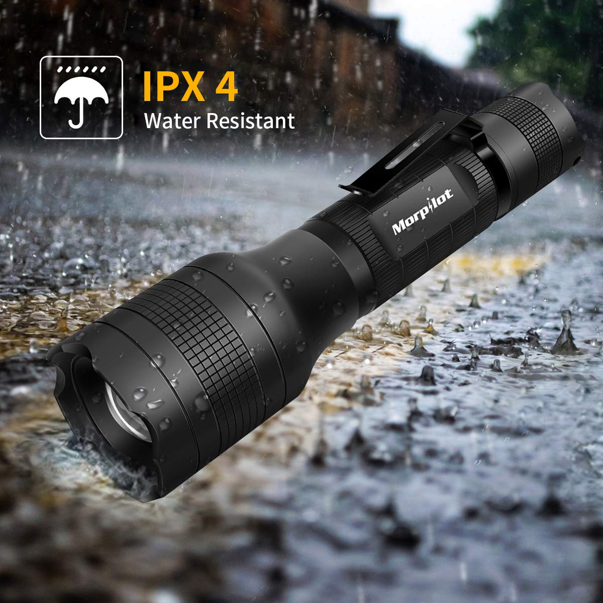 Rechargeable Flashlight Morpilot 2 IN 1 UV & LED Torch (White Light and UV Light) with Pocket Clip, 500 Lumens and 4 Light Modes Flashlight Zoom OUT/IN Waterproof IPX 4 (Battery and charger Included)T