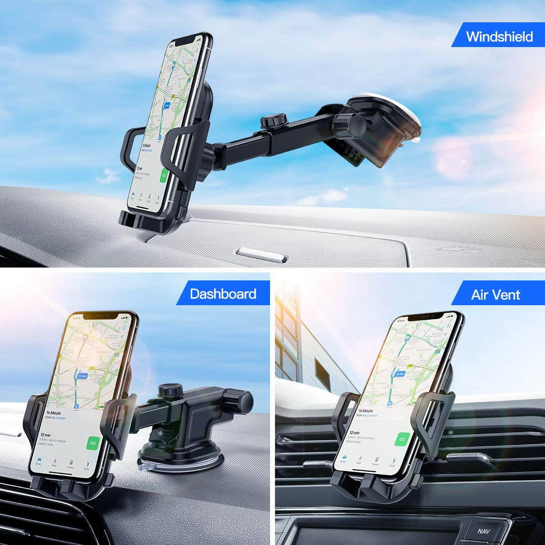53ada0eaafb8b0 Amazon.com: Car Phone Mount VICSEED Universal Car Phone Holder for Car  Dashboard Windshield Adjustable Long Arm Strong Suction Cell Phone Car Mount  Fit for ...