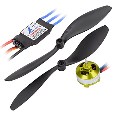 Hobbymate Rc Airplane Power Combo Hobbymate Motor 30A ESC Program Card Props Plugs ParkFlyer: Toys & Games