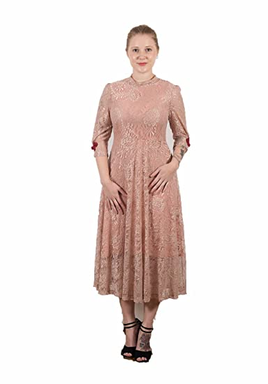 7acd788a2f6ed Sister Jane Glinda Pink Lace Midi Dress Gown L UK 14: Amazon.co.uk: Clothing