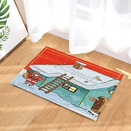 Amazon Com Christmas Bath Rugs Santa Give Presents Through The