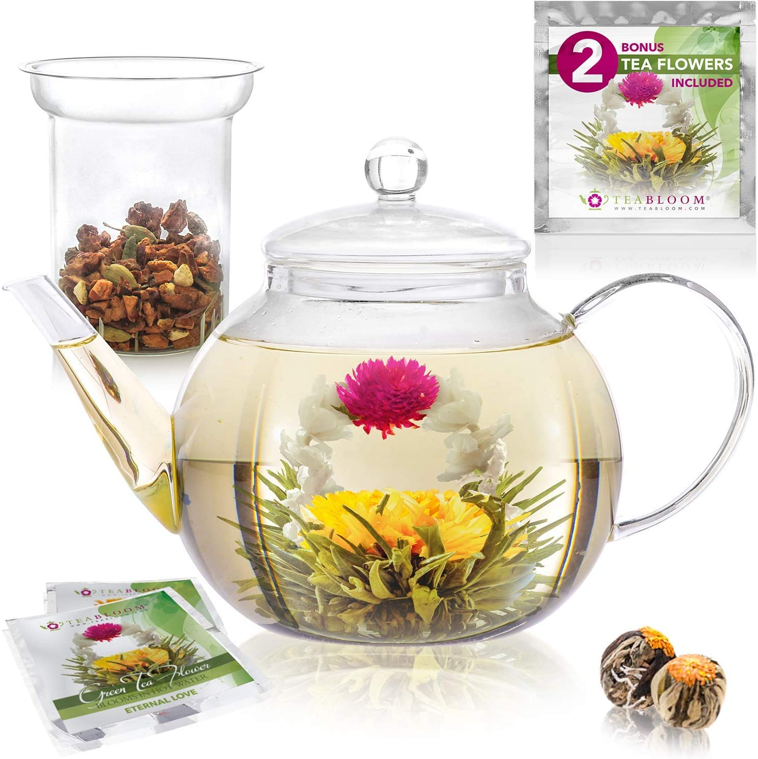 Teabloom Stovetop & Microwave Safe Glass Teapot (40 OZ / 1.2 L) with Removable Loose Tea Glass Infuser – Includes 2 Blooming Teas – Premium Quality Teapot Gift Set