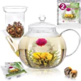 Teabloom Teapot Gift Set – Stovetop Safe Glass Teapot with 2 Gourmet Blooming Teas & Removable Glass Infuser for Loose Leaf Tea – Holds 6-8 Cups (40 oz /1200 ml) Classic Teapot + Glass Infuser Clear
