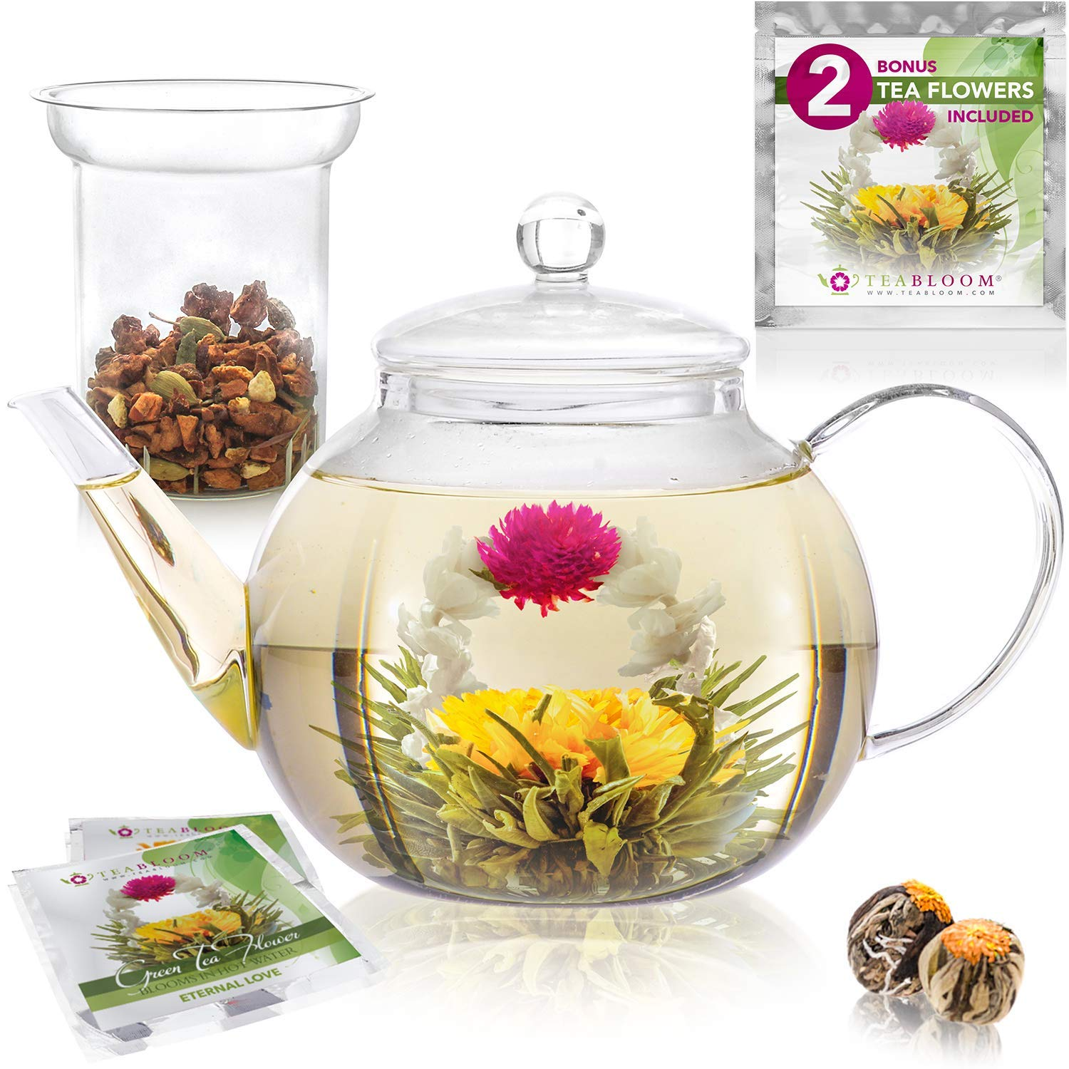 Teabloom Stovetop & Microwave Safe Glass Teapot (34-40oz/1000-1200ml) with Removable Loose Tea Glass Infuser - Includes 2 Blooming Teas - Premium Quality Teapot Gift Set by Teabloom