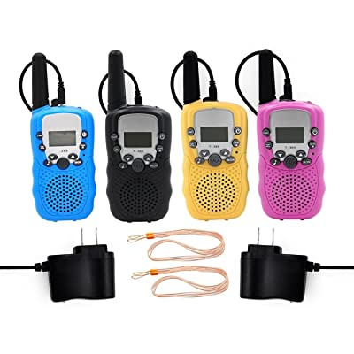 MeMoToys Kids Walkie Talkies Rechargeable 4 Pack Children Two Way Radio Toy T-388 Walkie Talkies for Kids with Charger (Blue+Pink+Yellow+Black)