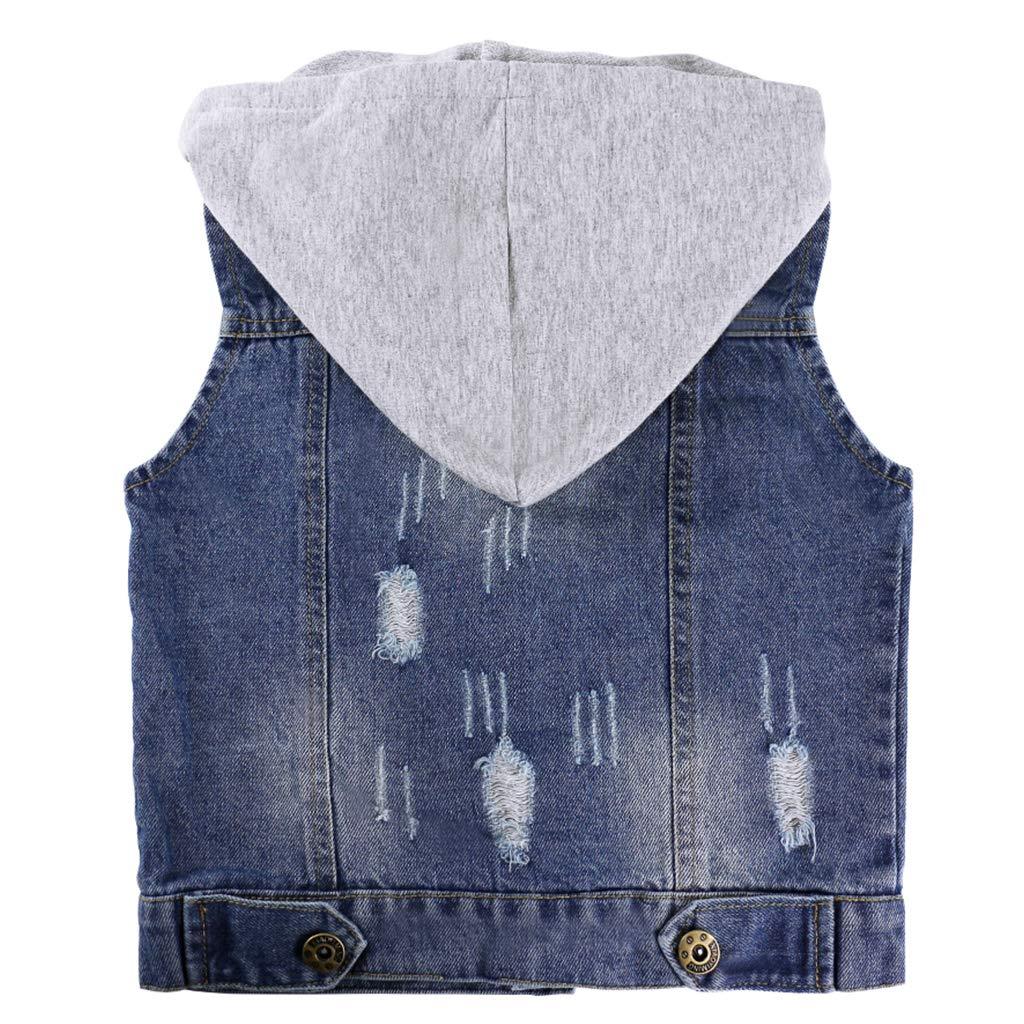 Giacca di Jeans Gilet Bambini in Denim Cappotto Senza Maniche con Cappuccio Bambino Vest Casual per Bambina Jeans Blu Denim Vestiti Primavera Autunno Capispalla