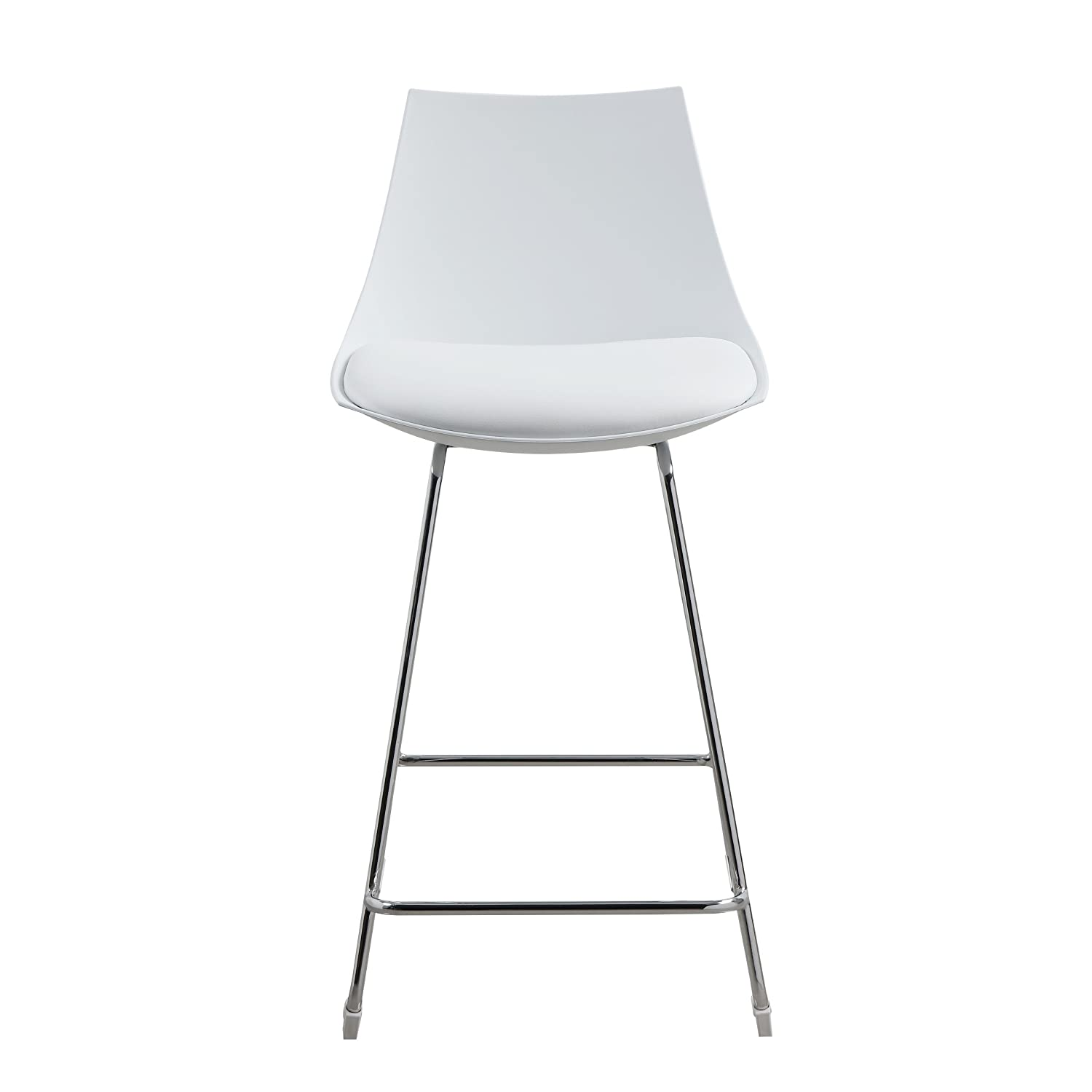 Emerald Home Neo White 24 Bar Stool with Molded Plastic Shell, Cushioned Seat, And Metal Bracing, Set of Two