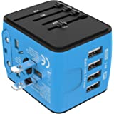 Jollyfit International Universal Travel Adapter 4 USB Charger AC Power Wall Plug US UK AU EU Worldwide 150 Countries with Safe Fuse for Europe Asia Germany France Italy India China Russia American British European Adapter (Blue)
