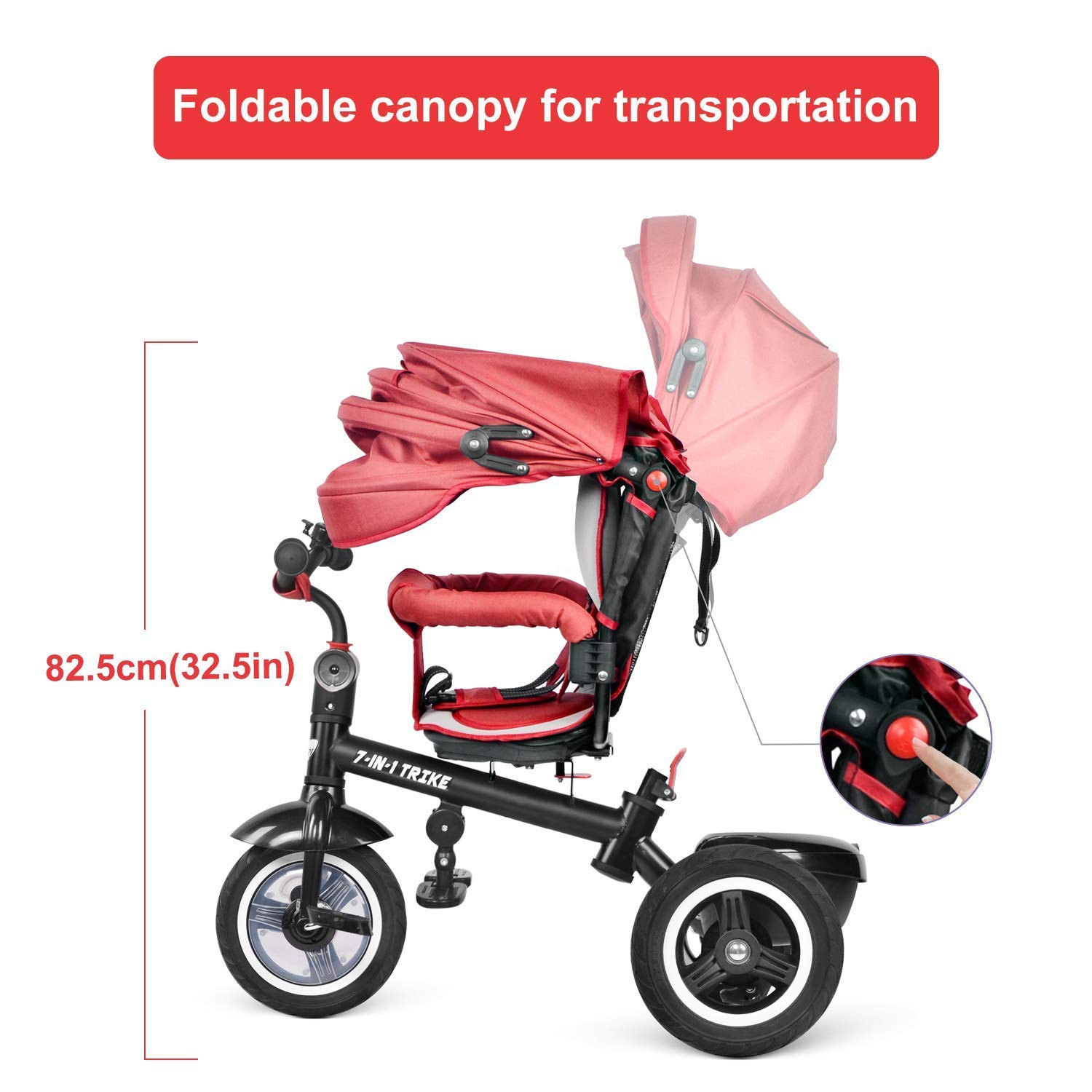 Reversible Seat with Pedal for 6 Months to 6 Years besrey Tricycle Kids Trike Baby Tricycle Buggy Stroller Kids Trike Push Chair 7 in 1